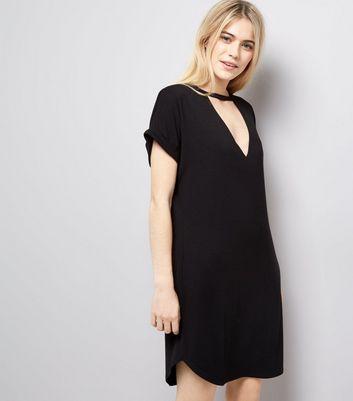 Black Choker Neck T-Shirt Dress