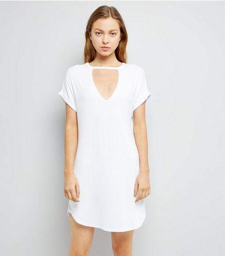 White Choker Neck T-Shirt Dress | New Look