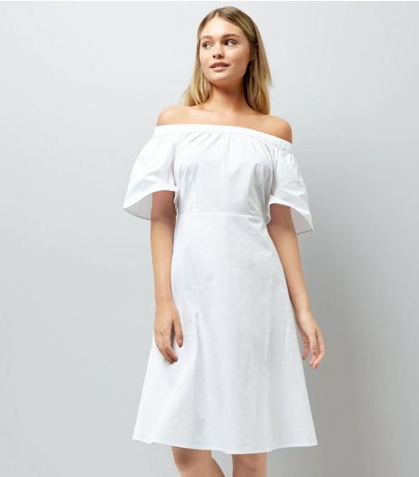 White Bardot Neck Midi Dress | New Look