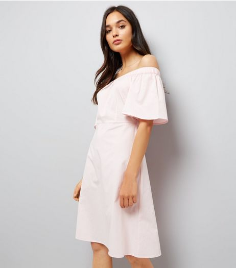 Shell Pink Bardot Neck Midi Dress | New Look