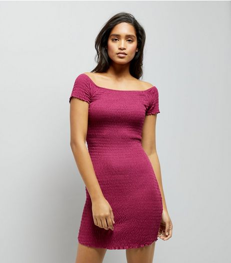Deep Pink Shirred Bodycon Bardot Neck Dress | New Look