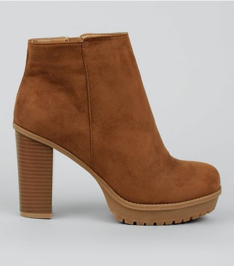 Wide Fit Tan Platform Ankle Boots | New Look
