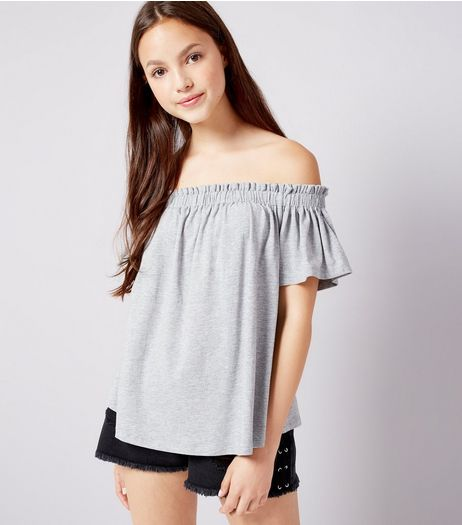 Teens Grey Bardot Neck Top | New Look