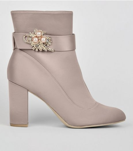 Wide Fit Grey Satin Embellished Ankle Boots | New Look