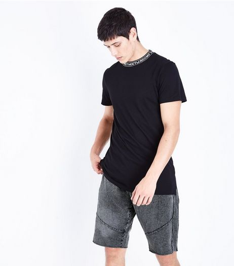 Grey Acid Wash Reverse Panel Shorts  | New Look