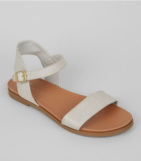 Wide Fit Grey Open Toe Sandals | New Look