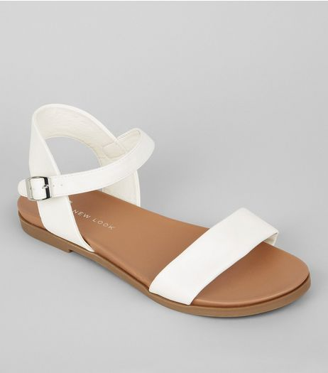 Wide Fit White Open Toe Sandals | New Look