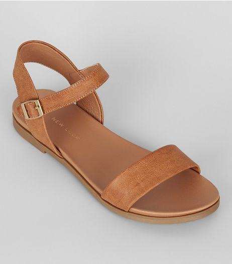 Wide Fit Tan Open Toe Sandals | New Look