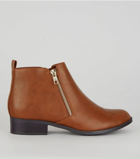 Tan Zip Side Boots | New Look
