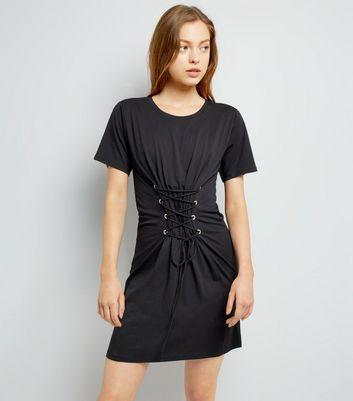 Black Corset Lace Up T-Shirt Dress