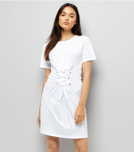 White Corset Lace Up T-Shirt Dress | New Look