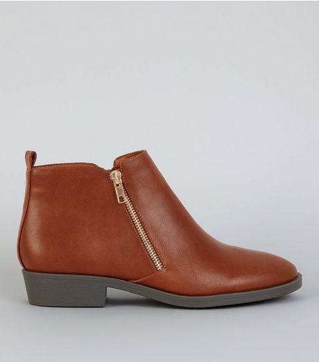 Tan Zip Side Ankle Boot | New Look