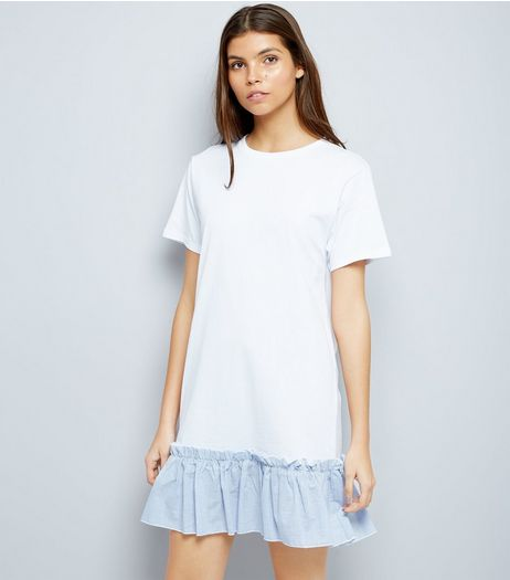 White Striped Peplum Hem T-Shirt Dress | New Look