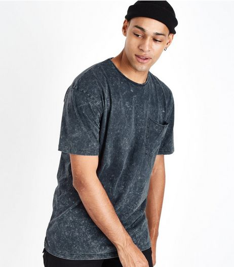 Grey Acid Washed Pocket Front Boxy T-Shirt | New Look