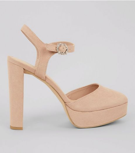 Nude Pink Suedette Platform Court Shoes | New Look