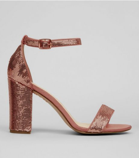 Rose Gold Sequin Heeled Sandals  | New Look