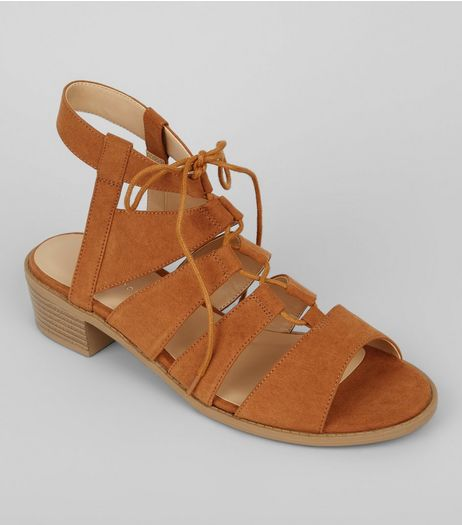 Tan Suedette Tie Up Ghilli Sandals | New Look
