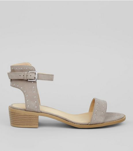 Grey Suedette Stud Detail Sandals | New Look