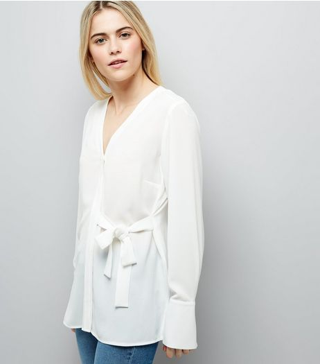 White V Neck Tie Side Shirt  | New Look