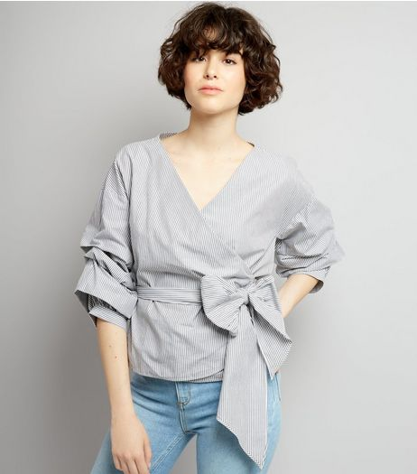 Grey Stripe Ruched Sleeve Wrap Front Top | New Look
