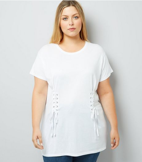 Curves White Lace Up T-Shirt | New Look