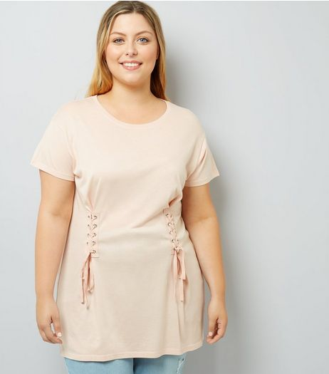Curves Shell Pink Lace Up T-Shirt | New Look