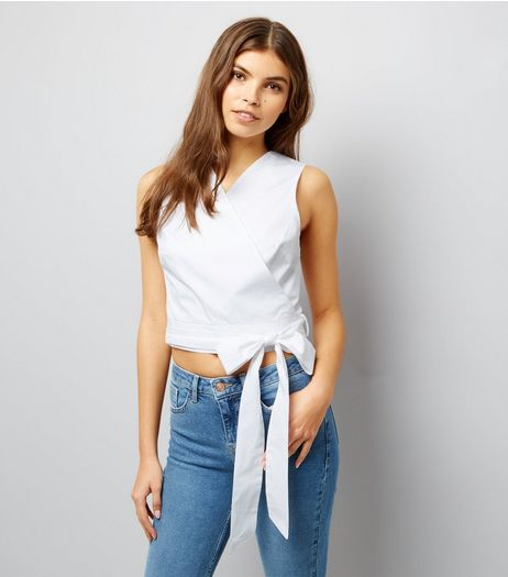 White Sleeveless Wrap Front Crop Top  | New Look