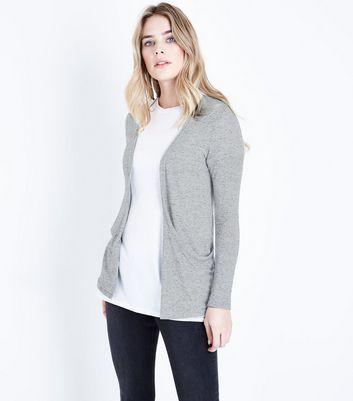 Grey Fine Knit Boyfriend Cardigan
