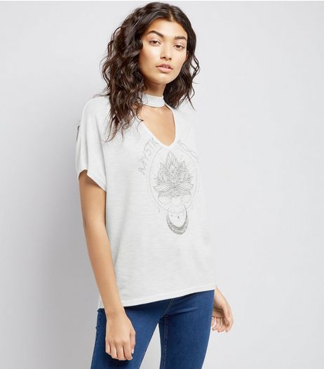White Stud Detail Mystic Moon Choker Neck T-Shirt | New Look