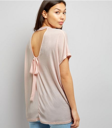 Shell Pink Choker Neck Tie Back T-Shirt | New Look