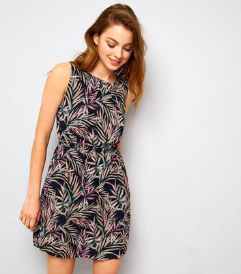 Apricot Navy Palm Leaf Print Mini Dress