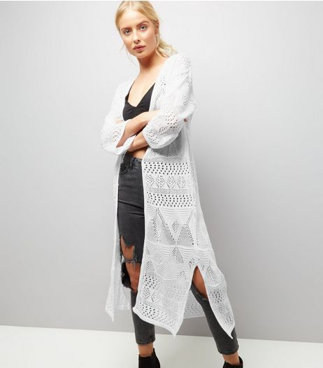 White Crochet Maxi Cardigan | New Look