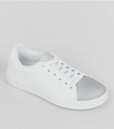 Teens Silver Glitter Panel Trainers  | New Look