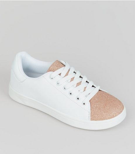 Teens Rose Gold Glitter Panel Trainers  | New Look