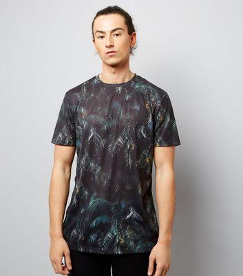 Dark Green Leaf Print T-Shirt