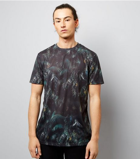 Dark Green Leaf Print T-Shirt  | New Look
