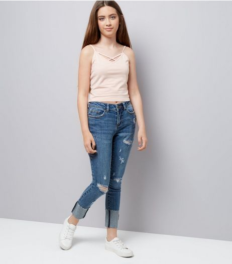 Teens Blue Turned Up Hem Ripped Skinny Jeans | New Look
