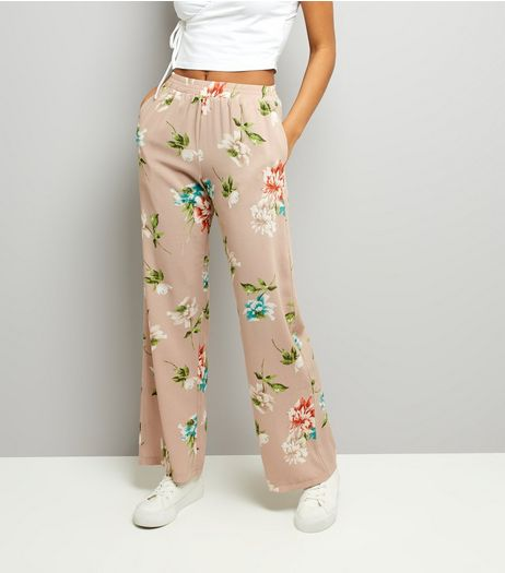 Cameo Rose Stone Floral Print Trousers | New Look