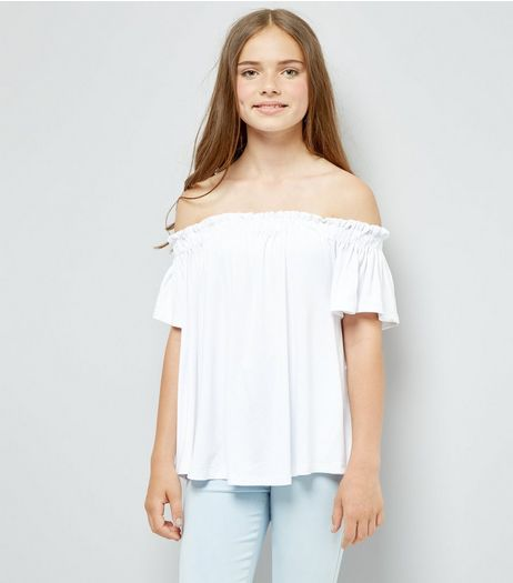 Teens White Bardot Neck Top | New Look