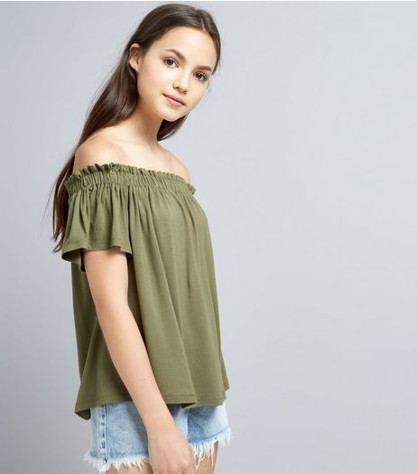 Teens Khaki Bardot Neck Top | New Look