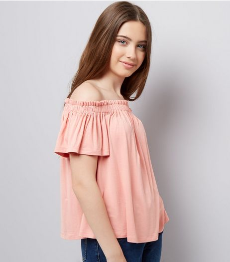 Teens Coral Bardot Neck Top | New Look