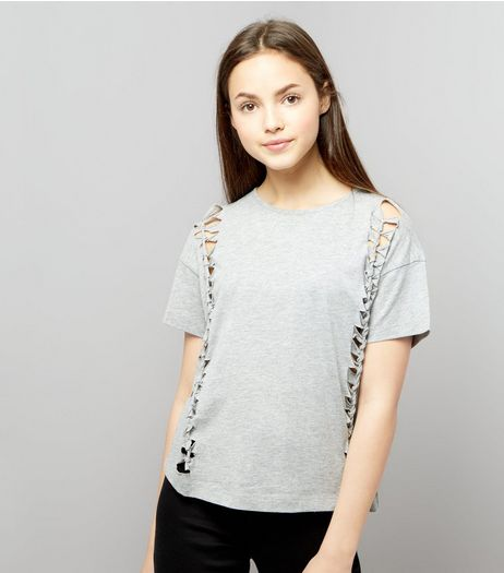 Teens Grey Knot Side T-Shirt | New Look