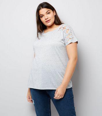 Curves Grey Lattice Shoulder T-Shirt