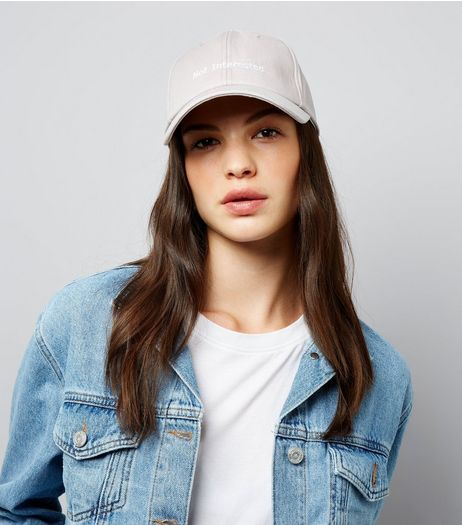 Grey Not Interested Embroidered Cap | New Look