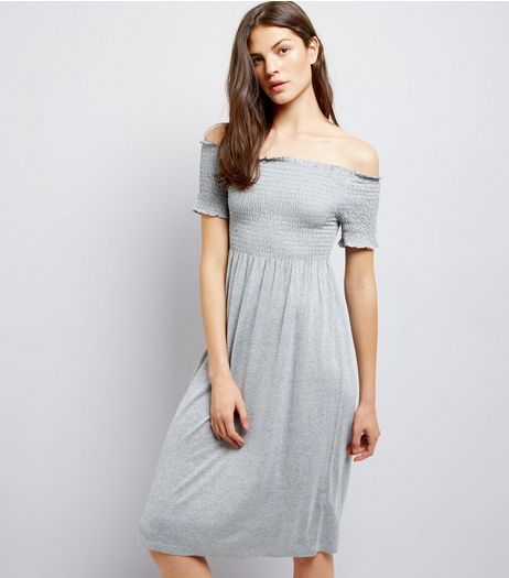 Tall Grey Shirred Bardot Neck Midi Dress | New Look