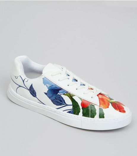 White Floral Print Lace Up Trainers | New Look