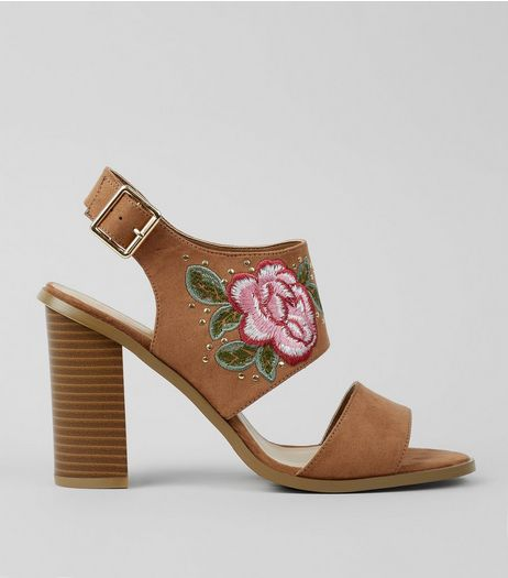 Wide Fit Tan Floral Embroidered Heeled Sandals | New Look