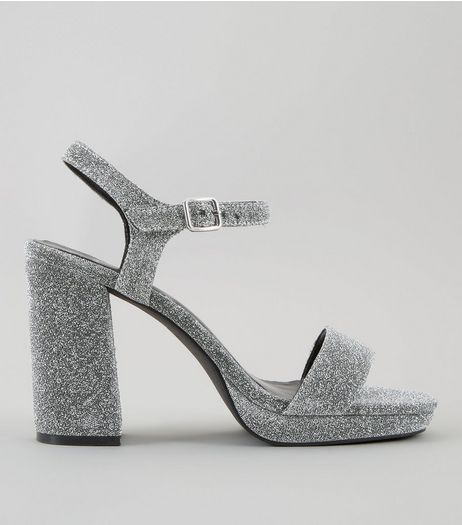 Wide Fit Silver Glitter Heeled Sandals | New Look