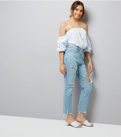 Blue Ripped Tori Mom Jeans  | New Look