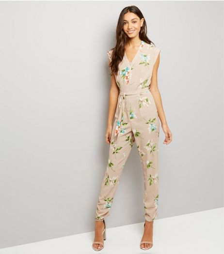 Cameo Rose Stone Floral Print Zip Front Jumpsuit | New Look